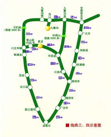 成都到九寨沟自驾车旅游路线图(九环线)