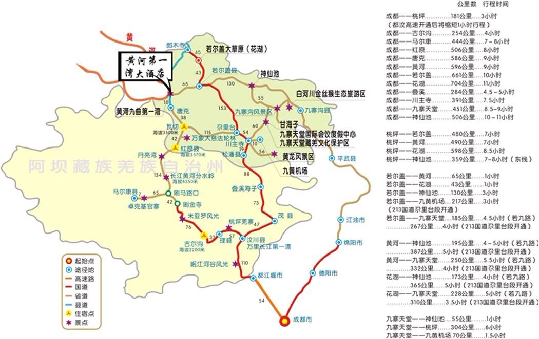 大九寨旅游环线地图及交通公里数