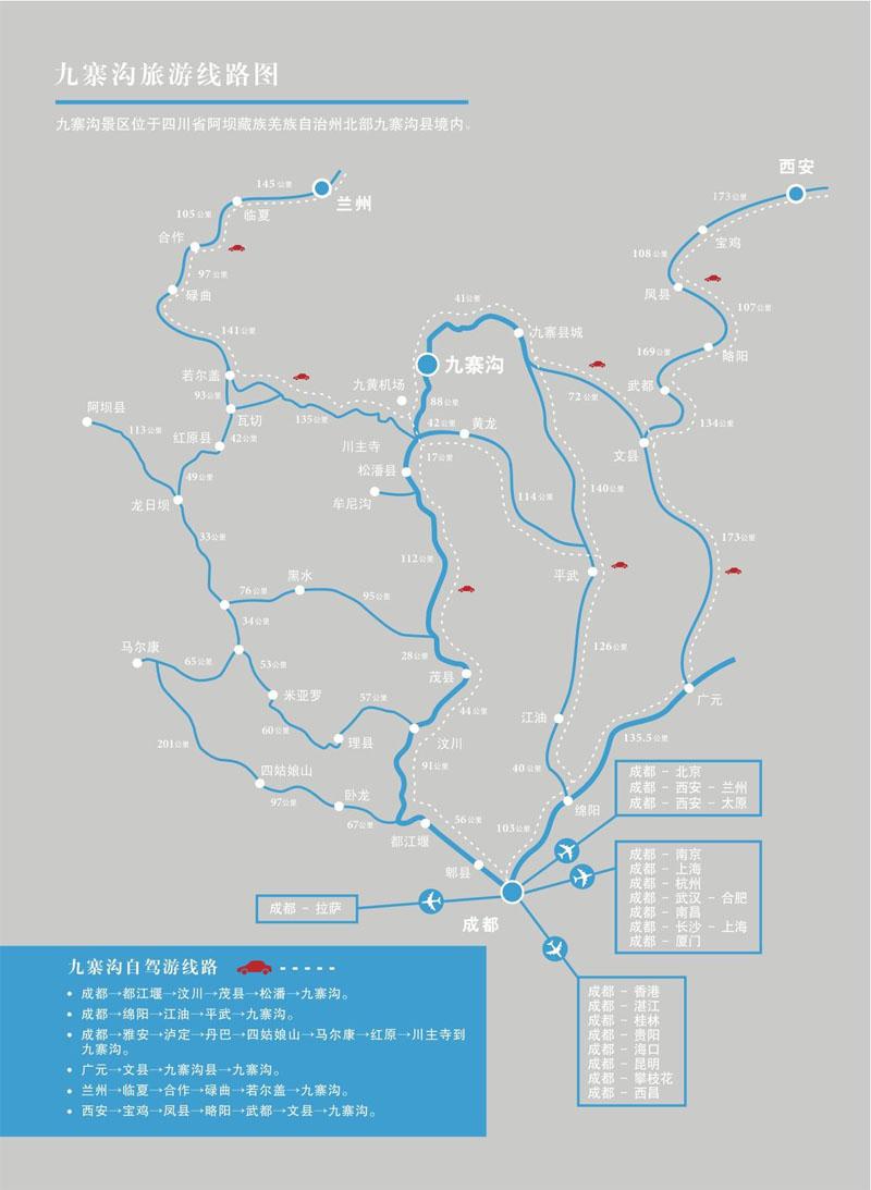 九寨沟自驾游线路图